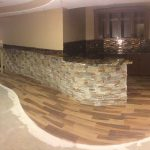 fancy custom stone wood floor granite counter