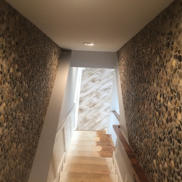 custom stone wall small staircase
