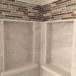 custom shower shelf glass tile