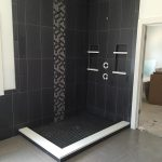 dark tile shower custom