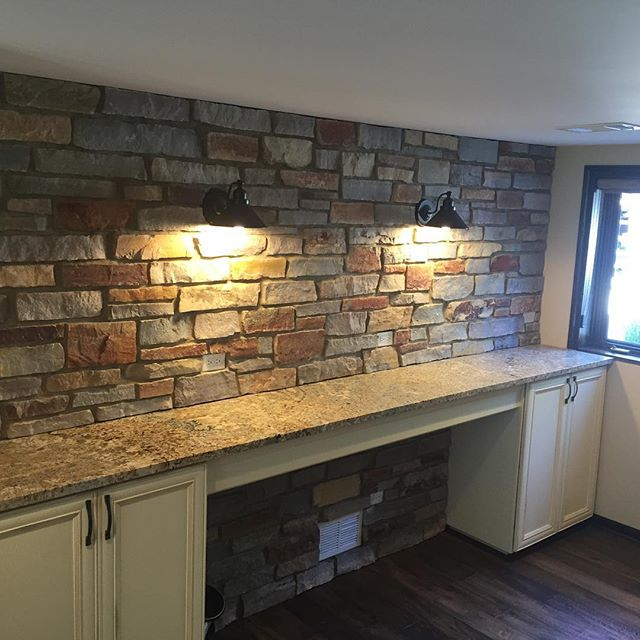 custom stone wall with counter