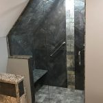 slanted ceiling custom tile shower dark