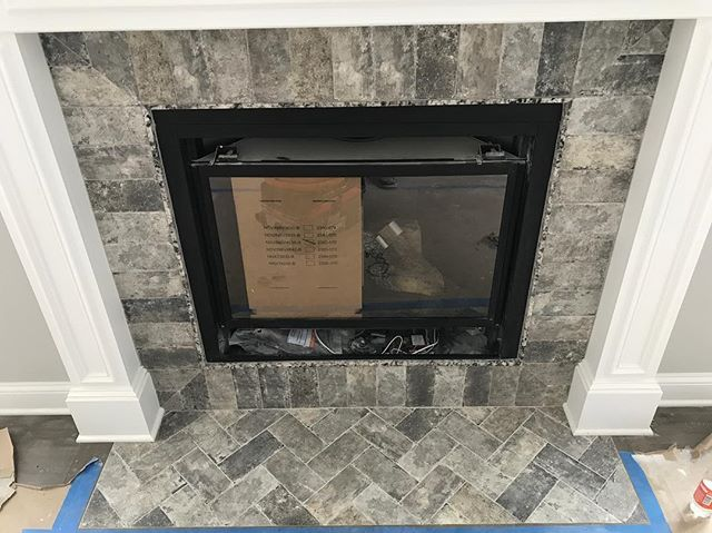 stone fireplace herringbone pattern
