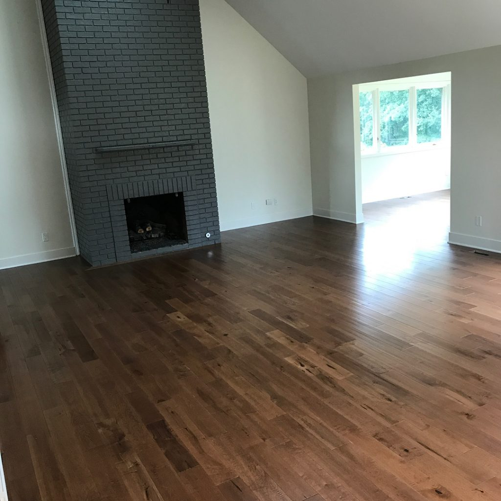 fireplace and wood floor